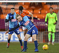 Blackpool's Ben Heneghan battles with Wycombe Wanderers' Alex Samuel<br /> <br /> Photographer Dave Howarth/CameraSport<br /> <br /> The EFL Sky Bet League One - Blackpool v Wycombe Wanderers - Tuesday 29th January 2019 - Bloomfield Road - Blackpool<br /> <br /> World Copyright © 2019 CameraSport. All rights reserved. 43 Linden Ave. Countesthorpe. Leicester. England. LE8 5PG - Tel: +44 (0) 116 277 4147 - admin@camerasport.com - www.camerasport.com