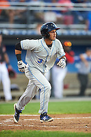 Hudson Valley Renegades shortstop Bill Pujols (3) runs to first during a game against the Batavia Muckdogs on August 1, 2016 at Dwyer Stadium in Batavia, New York.  Hudson Valley defeated Batavia 5-1.  (Mike Janes/Four Seam Images)