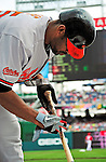 19 June 2011: Baltimore Orioles' infielder Derrek Lee prepares his bat in the on-deck circle during play against the Washington Nationals on Father's Day at Nationals Park in Washington, District of Columbia. The Orioles defeated the Nationals 7-4 in inter-league play, ending Washington's 8-game winning streak. Mandatory Credit: Ed Wolfstein Photo
