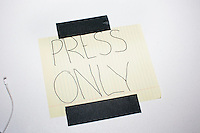 "A sign on a table reads ""Press Only"" before Republican presidential candidate and Ohio governor John Kasich speaks at a town hall campaign event at the Derry VFW in Derry, New Hampshire."
