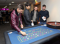 Pictured L-R: Players Federico Fernandez, Ki SUng Yueng, Matt Grimes and Jordi Amat gambling at the roulette table <br />