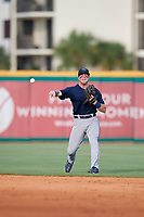 Mobile BayBears shortstop Connor Justus (7) throws to first base during a Southern League game against the Mobile BayBears on July 25, 2019 at Blue Wahoos Stadium in Pensacola, Florida.  Pensacola defeated Mobile 2-1 in the first game of a doubleheader.  (Mike Janes/Four Seam Images)