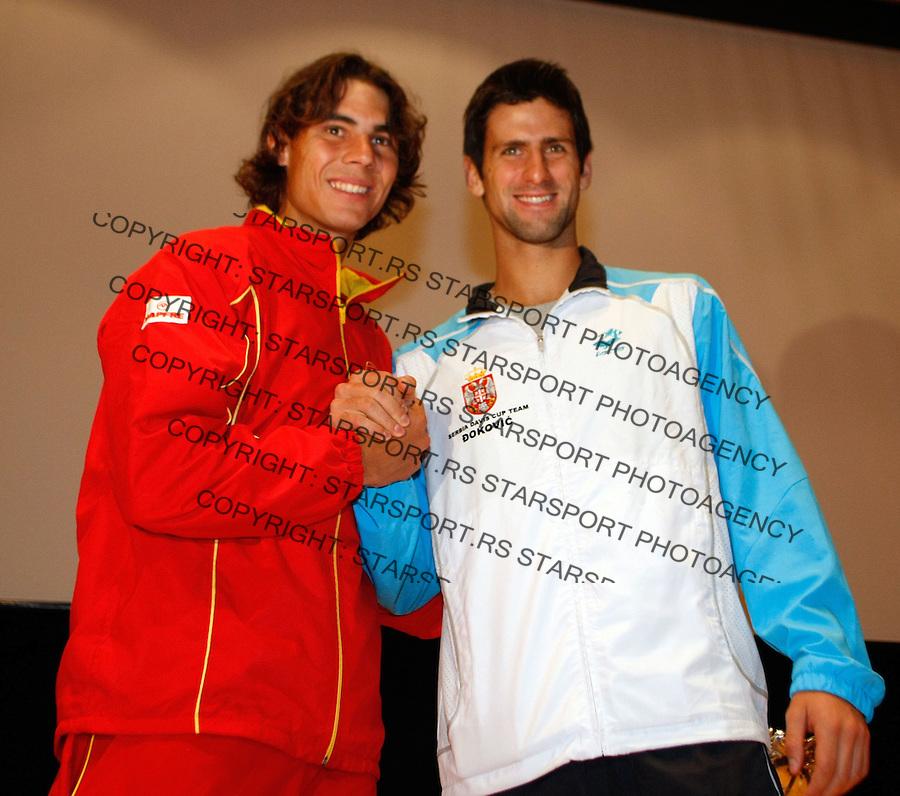 Tenis, DAVIS CUP, World group, first round.SPAIN Vs. SERBIA, official draw.Rafael Nadal Vs. Novak Djokovic.Benidorm, 03.05.2009..Photo: © Srdjan Stevanovic/Starsportphoto.com