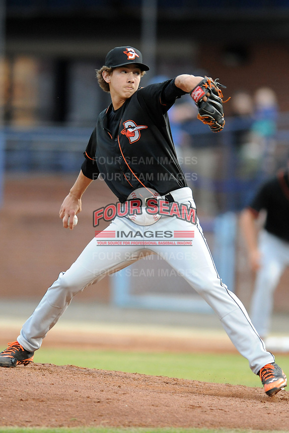 Delmarva Shorebirds starting pitcher Hunter Harvey #35 delivers a pitch during a game against the Asheville Tourists at McCormick Field on April 4, 2014 in Asheville, North Carolina. The Shorebirds defeated the Tourists 7-2. (Tony Farlow/Four Seam Images)