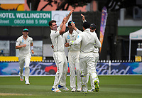 NZ's Colin De Grandhomme celebrates a wicket during day four of the international cricket test between the NZ Black Caps and the West Indies at the Hawkins Basin Reserve in Wellington, New Zealand on Monday, 4 December 2017. Photo: Dave Lintott / lintottphoto.co.nz