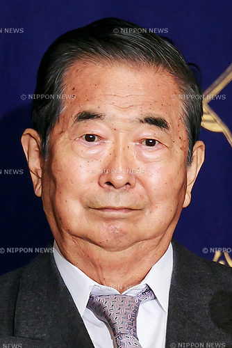 Shintaro Ishihara, former governor of Tokyo attends a press conference at The Foreign Correspondents' Club of Japan on May 19, 2016, Tokyo, Japan. The politicians criticised Donald Trump's opinions about the security relationship between the US and Japan, and showed a letter that they had sent challenging him to debate. Trump has called on Japan to pay the entire bill for hosting US troops on it's soil. Kamei also called on President Obama to apologise for the atomic bomb attacks against Japan in the Second World War when he visits Hiroshima. (Photo by Rodrigo Reyes Marin/AFLO)