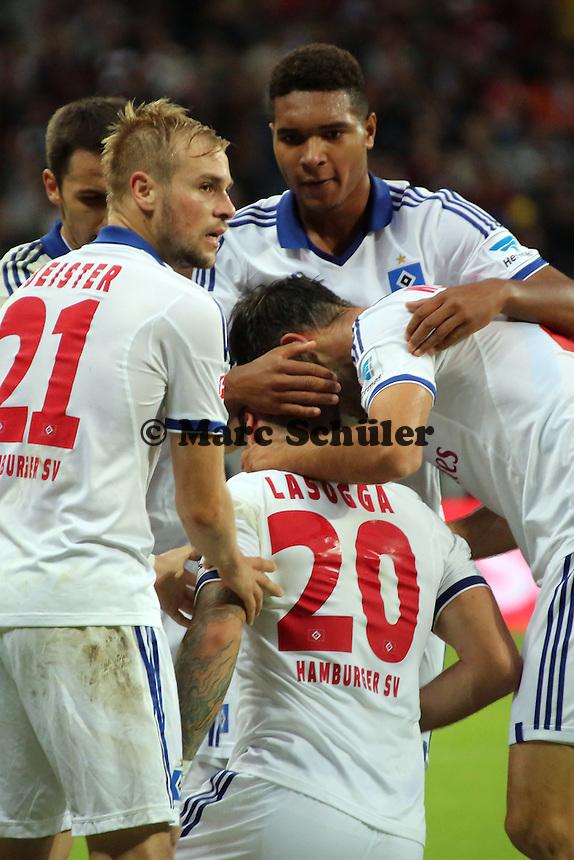 Torjubel um Pierre-Michel Lasogga (HSV) beim 1:1 mit Milan Badelj - Eintracht Frankfurt vs. Hamburger SV, Commerzbank Arena