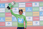 Nairo Quintana (COL) Movistar Team retakes the Green Jersey at the end of Stage 7 of La Vuelta 2019 running 183.2km from Onda to Mas de la Costa, Spain. 30th August 2019.<br /> Picture: Luis Angel Gomez/Photogomezsport | Cyclefile<br /> <br /> All photos usage must carry mandatory copyright credit (© Cyclefile | Luis Angel Gomez/Photogomezsport)