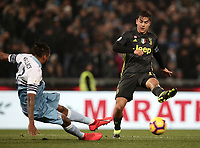 Football, Serie A: S.S. Lazio - Juventus, Olympic stadium, Rome, January 27, 2019. <br /> Juventus' Paulo Dybala (r) in action with Lazio's Fortuna Wallace Dos Santos (l) during the Italian Serie A football match between S.S. Lazio and Juventus at Rome's Olympic stadium, Rome on January 27, 2019.<br /> UPDATE IMAGES PRESS/Isabella Bonotto