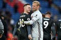 3rd November 2019; Selhurst Park, London, England; English Premier League Football, Crystal Palace versus Leicester City; Kasper Schmeichel of Leicester City celebrates the 0-2 win with James Maddison - Strictly Editorial Use Only. No use with unauthorized audio, video, data, fixture lists, club/league logos or 'live' services. Online in-match use limited to 120 images, no video emulation. No use in betting, games or single club/league/player publications