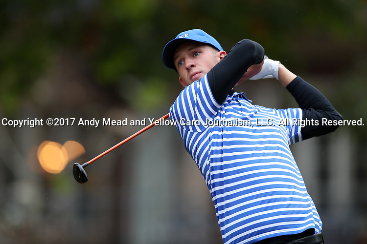 GREENSBORO, NC - OCTOBER 29: Duke's Chandler Eaton on the 4th tee. The third round of the UNCG/Grandover Collegiate Men's Golf Tournament was held on October 29, 2017, at the Grandover Resort East Course in Greensboro, NC.