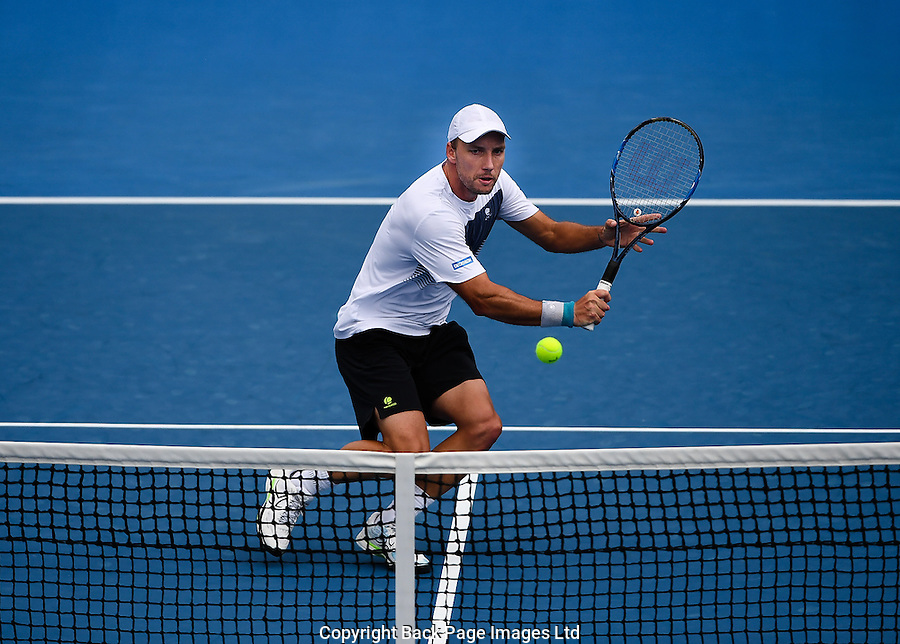 Steve Darcis of Belgium in action during Day Five of the Australian Open Tennis Championships held in Melbourne Park, Australia on 20th January 2017