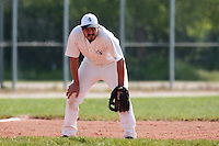 25 April 2010: Benjamin Deruelle of the PUC is seen on defense at third base during game 1/week 3 of the French Elite season won 12-4 by Rouen over the PUC, at the Pershing Stadium in Vincennes, near Paris, France.