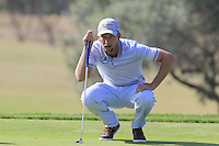 Marcel Siem (GER) on the 9th green during Thursday's Round 1 of the 2016 Portugal Masters held at the Oceanico Victoria Golf Course, Vilamoura, Algarve, Portugal. 19th October 2016.<br /> Picture: Eoin Clarke   Golffile<br /> <br /> <br /> All photos usage must carry mandatory copyright credit (© Golffile   Eoin Clarke)