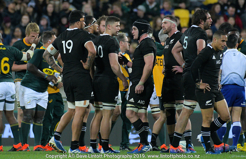 Dalton Papali'i talks to Matt Todd before a scrum during the Rugby Championship rugby union match between the New Zealand All Blacks and South Africa Springboks at Westpac Stadium in Wellington, New Zealand on Saturday, 27 July 2019. Photo: Dave Lintott / lintottphoto.co.nz