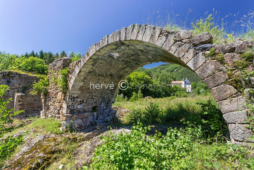 France, Haute-Loire (43), Lavoûte-sur-Loire, ruines du vieux pont sur la Loire