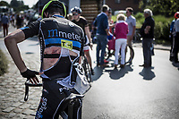 being involved in a crash.. Jasper De Laat (BEL/METEC TKH continental cycling team).<br /> <br /> GP Marcel Kint 2018 <br /> Kortrijk > Zwevegem 174.8km (BELGIUM)
