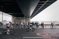 Green jersey Vasil Kiryienka (BLR/SKY) off to sign-in, Simon Geschke (DEU/Sunweb) getting back from it<br /> <br /> 104th Tour de France 2017<br /> Stage 2 - Düsseldorf › Liège (203.5km)