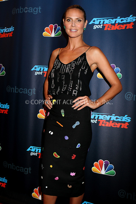 WWW.ACEPIXS.COM<br /> <br /> September 11 2013, New York City<br /> <br /> Heidi Klum at the 'America's Got Talent' Season 8 Red Carpet Event at Radio City Music Hall on September 11, 2013 in New York City.<br /> <br /> <br /> By Line: Nancy Rivera/ACE Pictures<br /> <br /> <br /> ACE Pictures, Inc.<br /> tel: 646 769 0430<br /> Email: info@acepixs.com<br /> www.acepixs.com