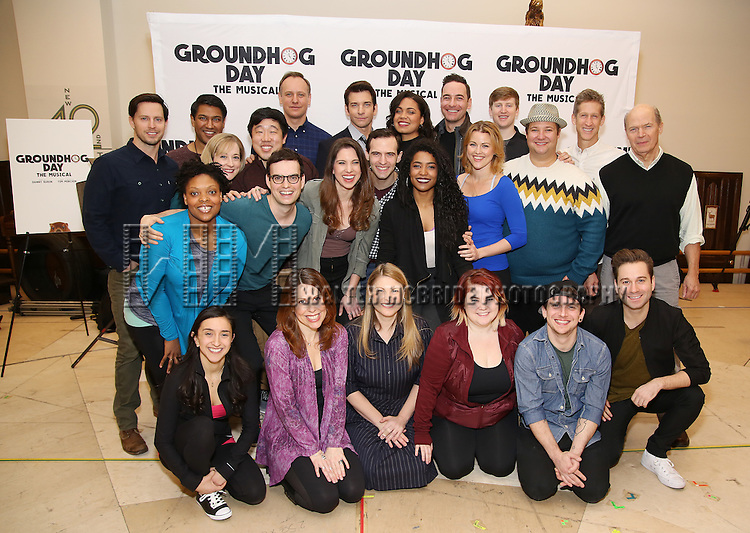 """John Sanders, Andy Karl, Barrett Doss, and Rebecca Faulkenberry with the cast attend the """"Groundhog Day'' press day at The New 42nd Street Studios on February 2, 2017 in New York City."""