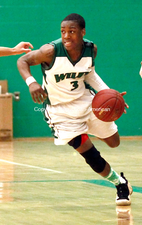 Waterbury, CT- 25 February 2013-022513CM03-  News action man--- Wilby's  Tafia Wright takes the ball up court during their 71-68 win over Wilby during the NVL tournament semi-finals in Waterbury Monday night.   Christopher Massa Republican-American