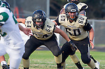 Palos Verdes, CA 10/25/13 - Carlo Merola (Peninsula #60) and Johnny Kimura (Peninsula #64) in action during the Mira Costa vs Peninsula varsity football game at Palos Verdes Peninsula High School.