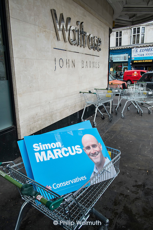 Conservative candidate Simon Marcus canvassing in Hampstead and Kilburn, the second most marginal constituency in the UK, held by Labour with a majority of 42 at the 2010 general election.