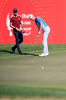 Thomas Detry (BEL) Victor Perez (FRA) on the 17th green during the 3rd round of the Abu Dhabi HSBC Championship, Abu Dhabi Golf Club, Abu Dhabi,  United Arab Emirates. 18/01/2020<br /> Picture: Fran Caffrey | Golffile<br /> <br /> <br /> All photo usage must carry mandatory copyright credit (© Golffile | Fran Caffrey)