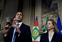 Roma, 12 Aprile 2018<br /> Movimento 5 Stelle<br /> Danilo Toninelli, Luigi Di Maio, Giulia Grillo<br /> Secondo giro di Consultazioni per la formazione del Governo