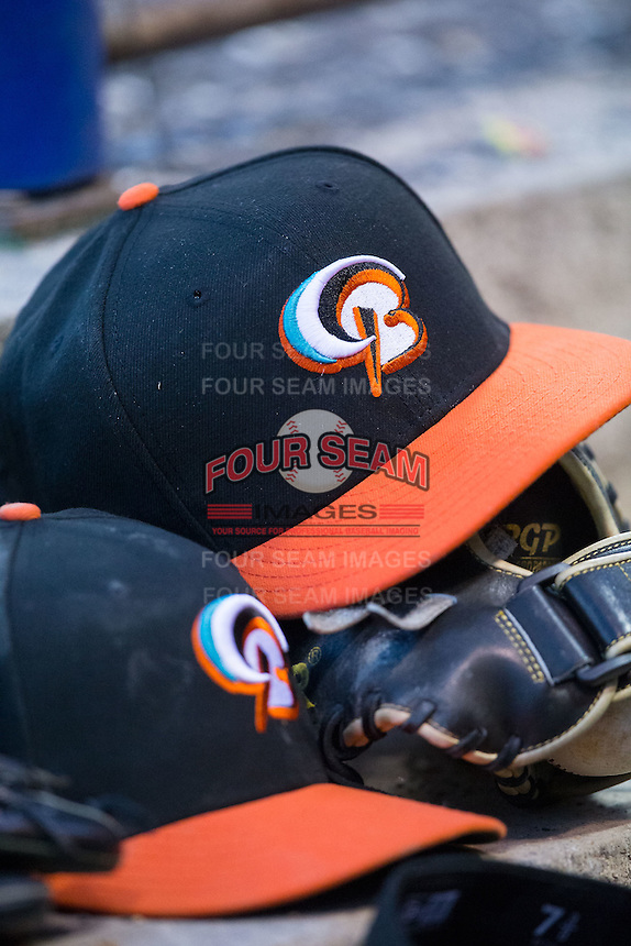 A pair of Bowie Baysox caps sit on the dugout steps during the Eastern League game against the Richmond Flying Squirrels at The Diamond on May 23, 2015 in Richmond, Virginia.  The Baysox defeated the Flying Squirrels 3-2.  (Brian Westerholt/Four Seam Images)