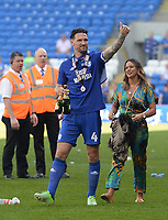 Cardiff City's Sean Morrison celebrates winning promotion to the Premier League<br /> <br /> Photographer Ian Cook/CameraSport<br /> <br /> The EFL Sky Bet Championship - Cardiff City v Reading - Sunday 6th May 2018 - Cardiff City Stadium - Cardiff<br /> <br /> World Copyright &copy; 2018 CameraSport. All rights reserved. 43 Linden Ave. Countesthorpe. Leicester. England. LE8 5PG - Tel: +44 (0) 116 277 4147 - admin@camerasport.com - www.camerasport.com