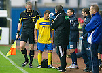 Kilmarnock v St Johnstone...01.10.11   SPL Week 10.Jody Morris is treated for a cut head.Picture by Graeme Hart..Copyright Perthshire Picture Agency.Tel: 01738 623350  Mobile: 07990 594431