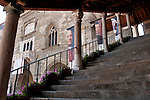 The stairway up to the Palazzo della Ragione, now an art museum, in Bergamo, Italy
