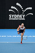 9th January 2018, Sydney Olympic Park Tennis Centre, Sydney, Australia; Sydney International Tennis, round 1; Dominika Cibulkova (SVK) follows her serve in her match against Elena Vesnina (RUS)
