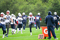 June 6, 2017: New England Patriots tight end Glenn Gronkowski (47) stretches at the New England Patriots mini camp held on the practice field at Gillette Stadium, in Foxborough, Massachusetts. Eric Canha/CSM