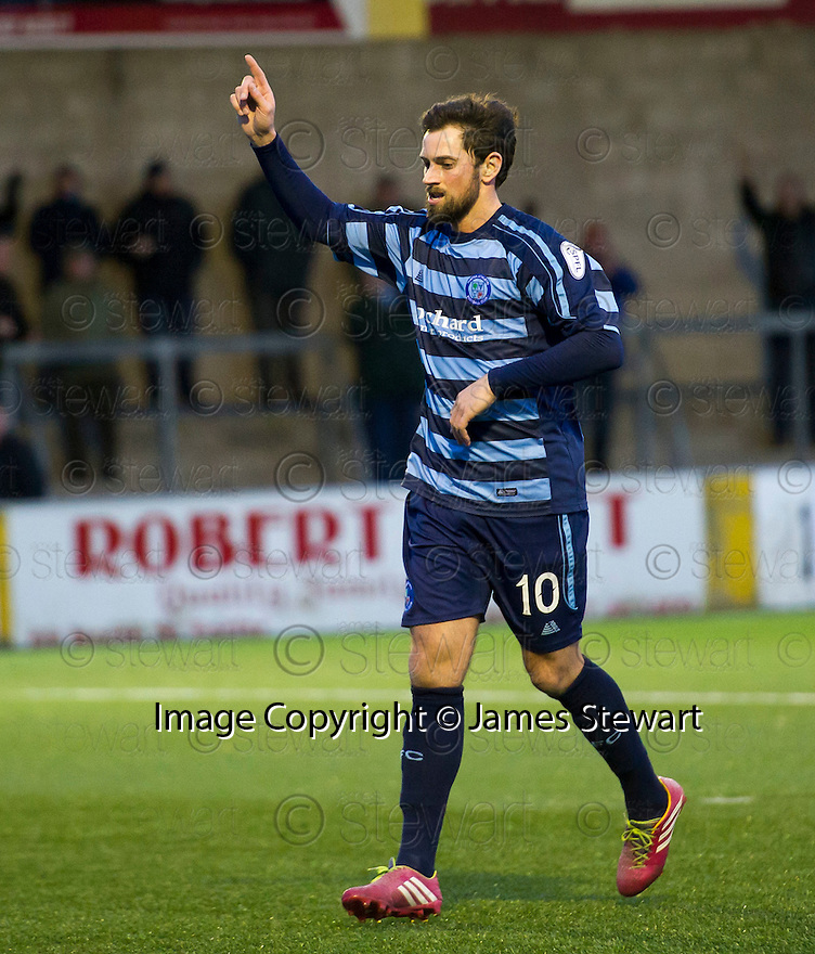 Forfar's Gavin Swankie celebrates after he scores their third goal.