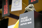 The winners trophy on stage at the team presentation before the 116th edition of Paris-Roubaix 2018. 7th April 2018.<br /> Picture: ASO/Pauline Ballet | Cyclefile<br /> <br /> <br /> All photos usage must carry mandatory copyright credit (&copy; Cyclefile | ASO/Pauline Ballet)