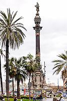 Spain, Barcelona. The Columbus Monument (Monument a Colom)