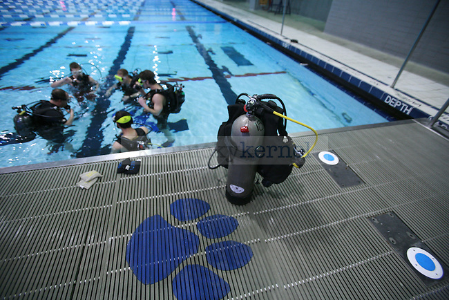 UK students learn how to breathe with their scuba tanks during a scuba seminar on Feb. 22, 2011. The scuba clinic was held by New Horizons Diving at Lancaster Aquatic Center. Photo By: Kirsten Holliday | Staff