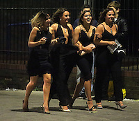 Pictured: Four young women walk down the pavement in the early hours of Saturday, 17 December, 2016<br /> Re: Mad or Black Friday in Middlesbrough, England, UK