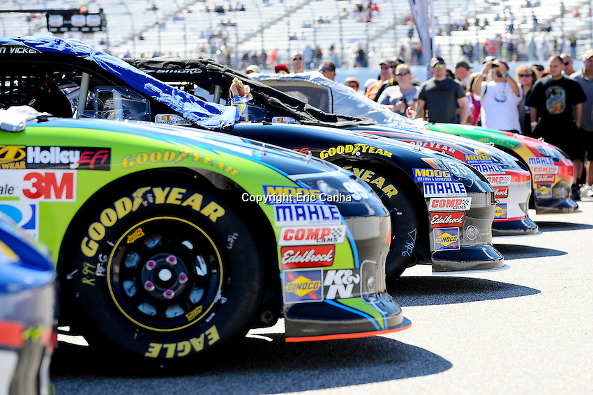 September 23, 2012 Sprint Cup Series cars lined up at the NASCAR Sprint Cup Series Sylvania 300 race held at the  New Hampshire Motor Speedway in Loudon, New Hampshire.  Eric Canha/CSM