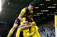 1st February 2020; Vicarage Road, Watford, Hertfordshire, England; English Premier League Football, Watford versus Everton; Roberto Pereyra of Watford celebrates with his team mates after scoring his sides 2nd goal in the 42nd minute to make it 2-0