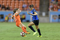 "Houston, TX - Sunday August 13, 2017: Andressa Cavalari Machry ""Andressinha"" and Brittany Taylor during a regular season National Women's Soccer League (NWSL) match between the Houston Dash and FC Kansas City at BBVA Compass Stadium."