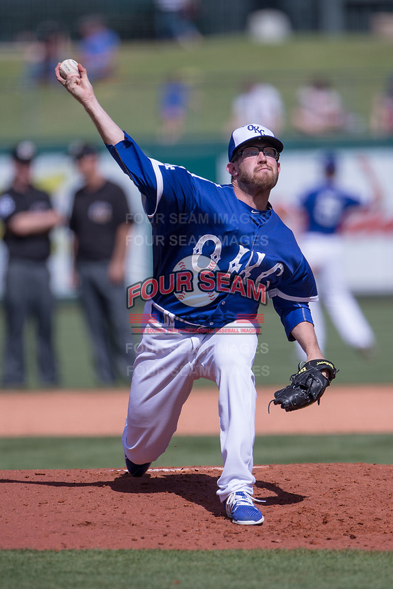 Jacob Rhame (35) of the Oklahoma City Dodgers pitches during a game against the Iowa Cubs at Chickasaw Bricktown Ballpark on April 9, 2016 in Oklahoma City, Oklahoma.  Oklahoma City defeated Iowa 12-1 (William Purnell/Four Seam Images)