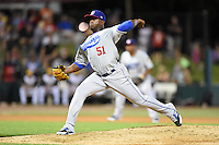 Chattanooga Lookouts pitcher Onelki Garcia (51) delivers a pitch during game three of the Southern League Championship Series against the Jacksonville Suns on September 12, 2014 at Bragan Field in Jacksonville, Florida.  Jacksonville defeated Chattanooga 6-1 to sweep three games to none.  (Mike Janes/Four Seam Images)