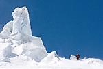 Skiing the Stockji Glacier enroute to Zermatt on the final day of the Haute Route ski traverse in Switzerland.