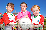 Máire Flynn, Lucy Finna nd Katie Crean having fun at the Castlegregory Cúl Camps last week.