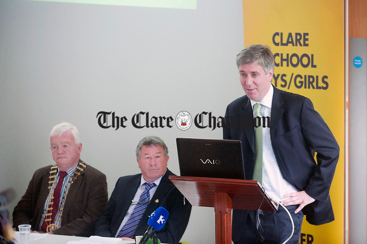 John Delaney, FAI chairman, with Christy Curtin, Mayor of Clare, and Michael Guilfoyle, Clare schoolboys/girls FAI delegate, at the FAI press conference to launch this summer's AGM which will take place in Ennis. Photograph by Declan Monaghan