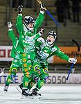 Stockholm 2014-12-02 Bandy Elitserien Hammarby IF - IFK V&auml;nersborg :  <br /> Hammarbys Ulf Einarsson firar sitt 1-0 m&aring;l med Adam Gilljam under matchen mellan Hammarby IF och IFK V&auml;nersborg <br /> (Foto: Kenta J&ouml;nsson) Nyckelord:  Elitserien Bandy Zinkensdamms IP Zinkensdamm Zinken Hammarby Bajen HIF IFK V&auml;nersborg jubel gl&auml;dje lycka glad happy depp besviken besvikelse sorg ledsen deppig nedst&auml;md uppgiven sad disappointment disappointed dejected