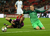 5th October 2017, Wembley Stadium, London, England; FIFA World Cup Qualification, England versus Slovenia; Goalkeeper Joe Hart of England diving to push the ball away from Josip Ilicic of Slovenia